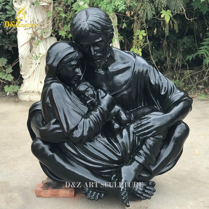 Metal casting bronze sleeping Mary Joseph and Jesus family statue for sale