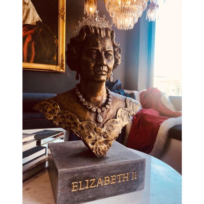A bronze bust of Queen Elizabeth