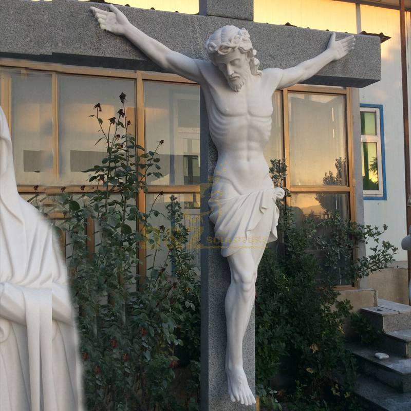 New Arrive Cross Jesus Religious Statue On Rose Jesus Crucifix Cross Figurine