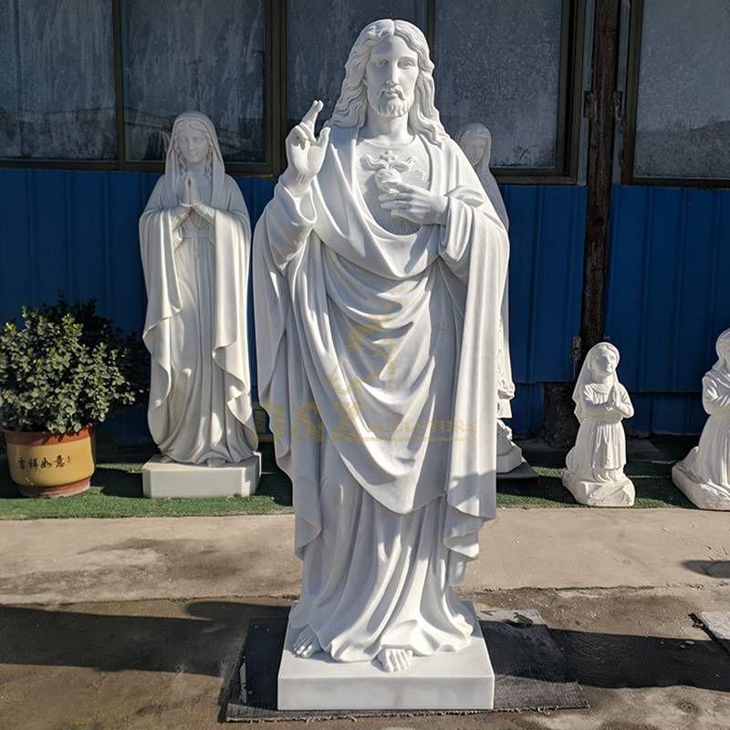 Classic White Marble Meditating Jesus Statue