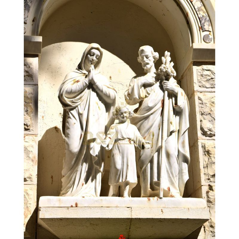 White Nativity Set Holy Family Catholic Religious Statue