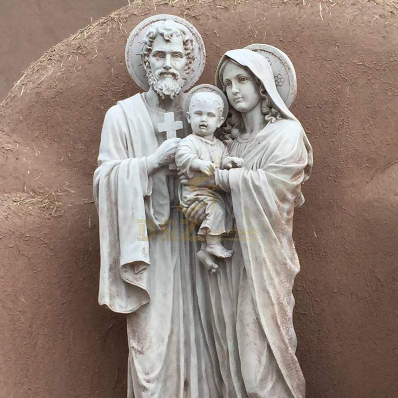 Hand Carved White Marble Holy Family Statue