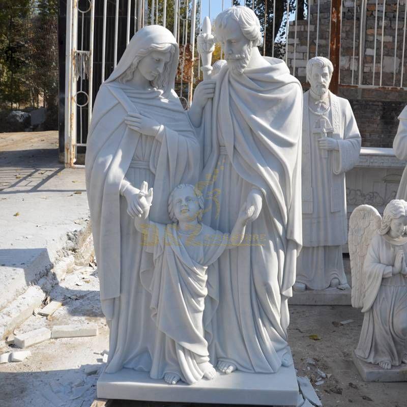 White Marble Holy Family Baby Jesus Catholic Religious Stone Statues