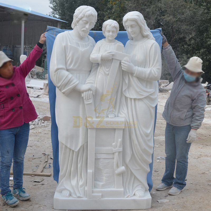 Chruch Decoration Religious Holy Family Marble Stone Statue