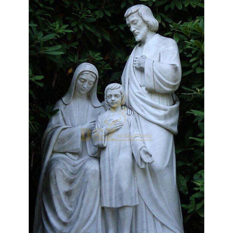 Grey Granite Paradiso Holy Family Sculpture Hand Carved
