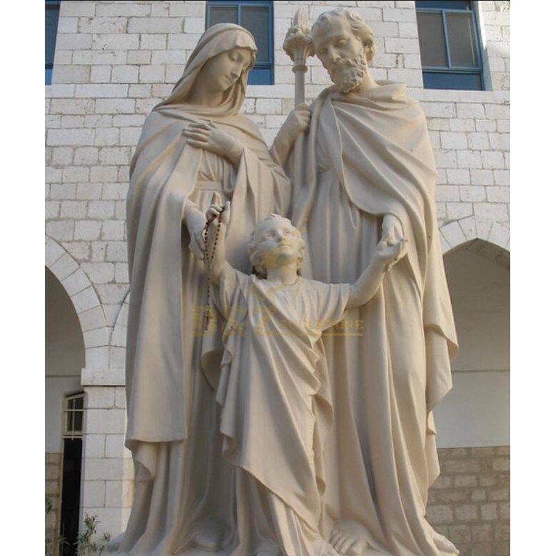 Antique Religious Marble Beige Cream Stone Holiy Family Statue
