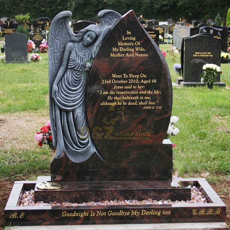 Cemetery Usage Black Granite Upright Headstone With Angel Engraving