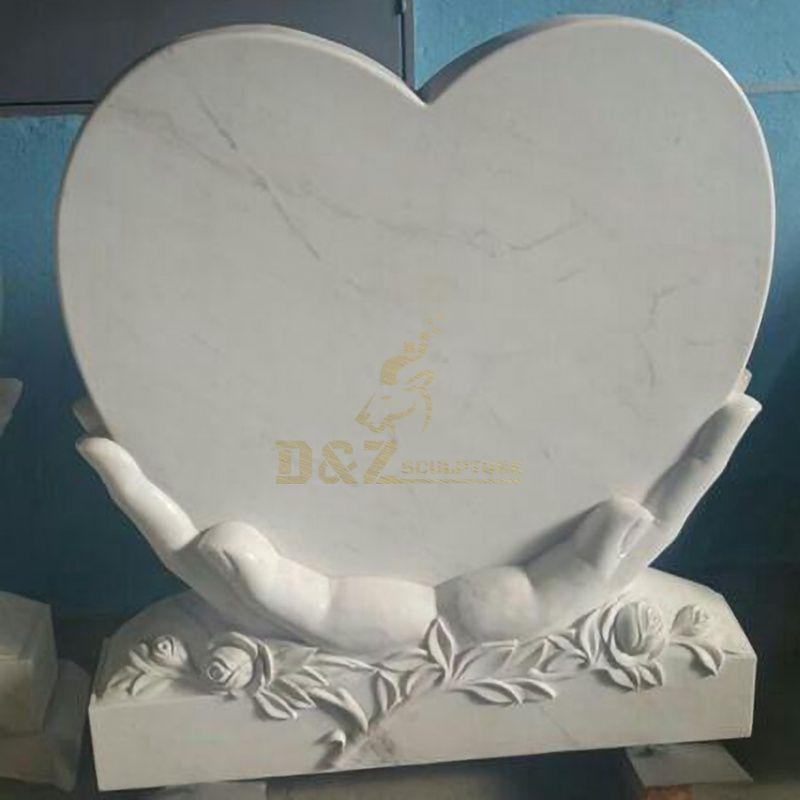 New Design Angel Embrace Heart Shape White Marble Tombstone Design Angel