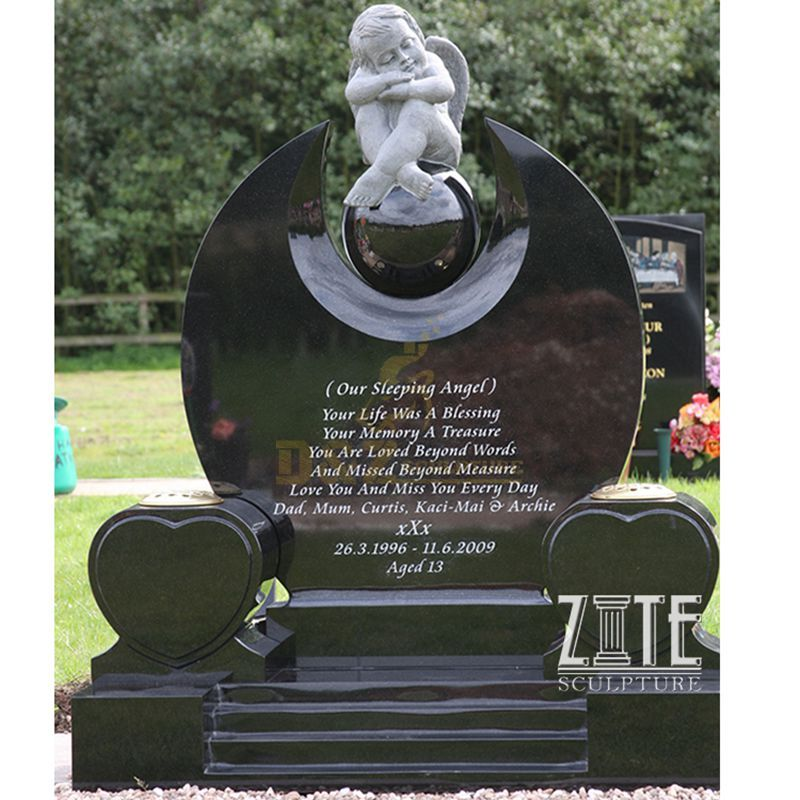 Factory Supply American Natural Stone Tombstone With Sitting Angel Statue