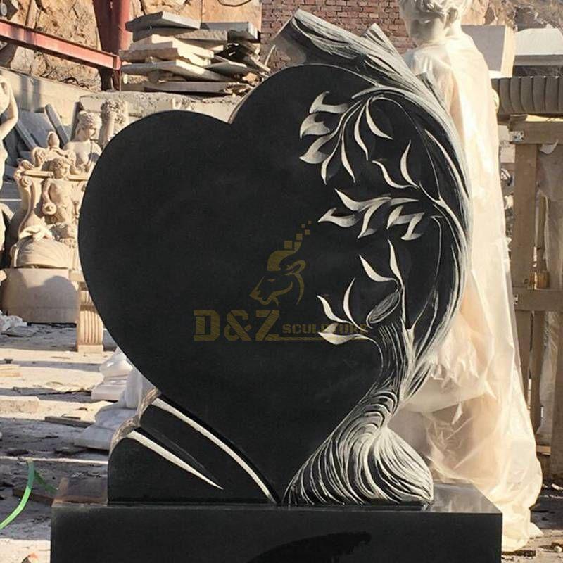 Shanxi Black Heart Headstone Granite Tombstone For Memorial