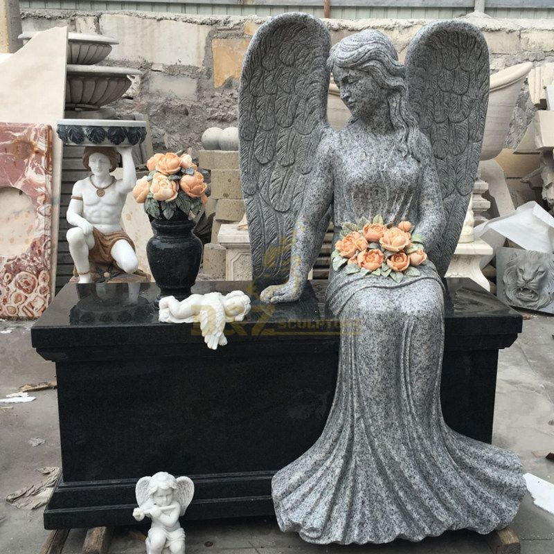 Black Granite Beautiful Heart Shaped Angel Statue Headstone Granite Tombstone
