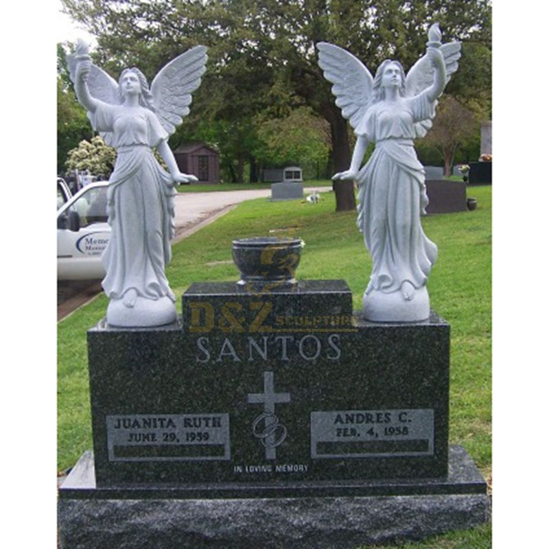 Weeping Angel Memorial Engraving Tombstone and Double Gravestone