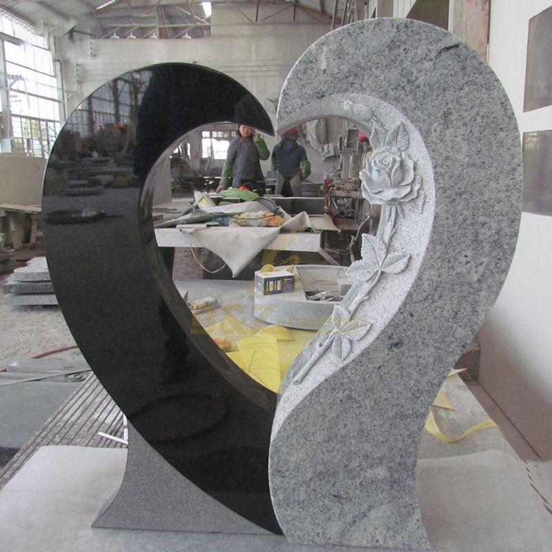 Heart Design One Piece Angel Monument Tombstone Headstone Gravestone