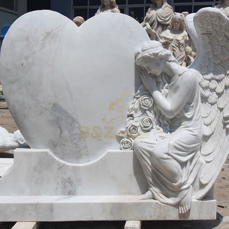 White Marble Vivid Angel with Heart Tombstone For Sale