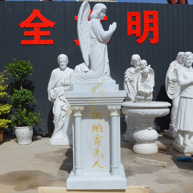 Custom Marble Religious Angel Statues For Church Decor