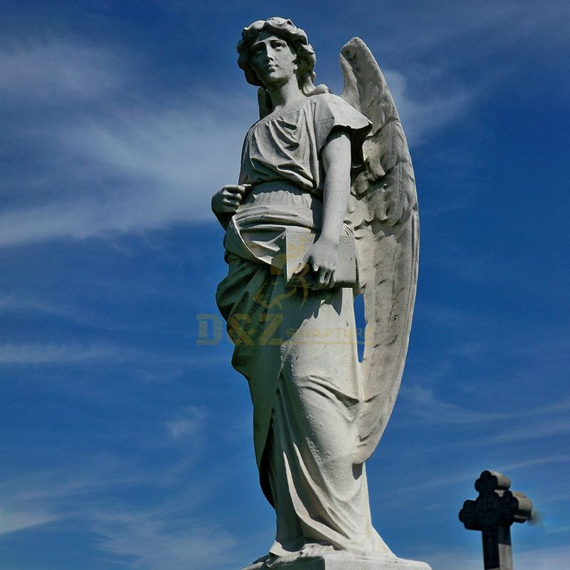 Church Decoration Sculpture Large Marble White Angel Statues For Sale