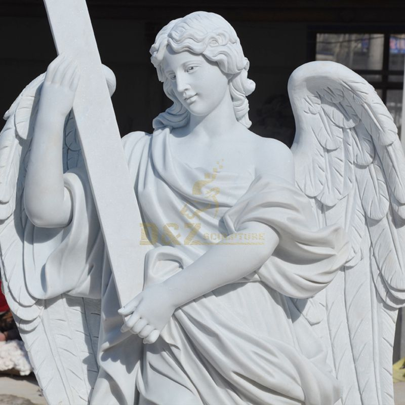Christian Decoration Stone Carved Large Church White Marble Angel Statue for sale
