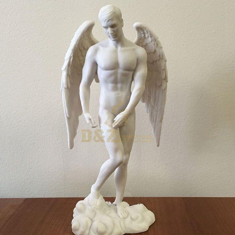 Church Decor Religious Angel White Marble St.Michael Sculpture