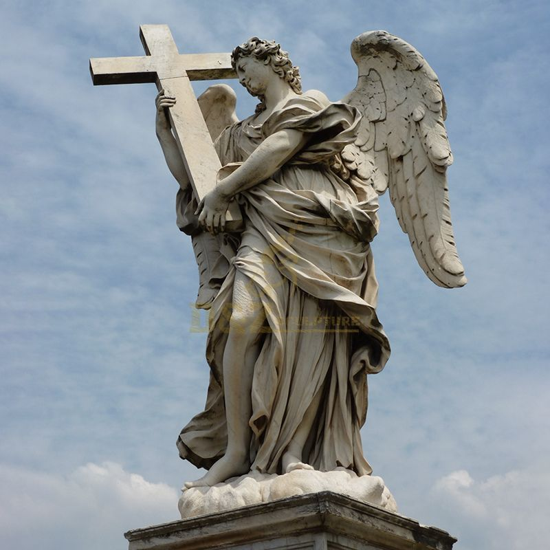 High Quality Classic Western Angelus Stone Angel Cross Sculpture White Marble Garden Male Angel Statue