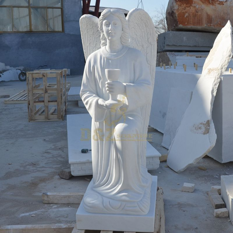 Custom Made White Marble Kneeling Angel Holding A Grail Grave Statues