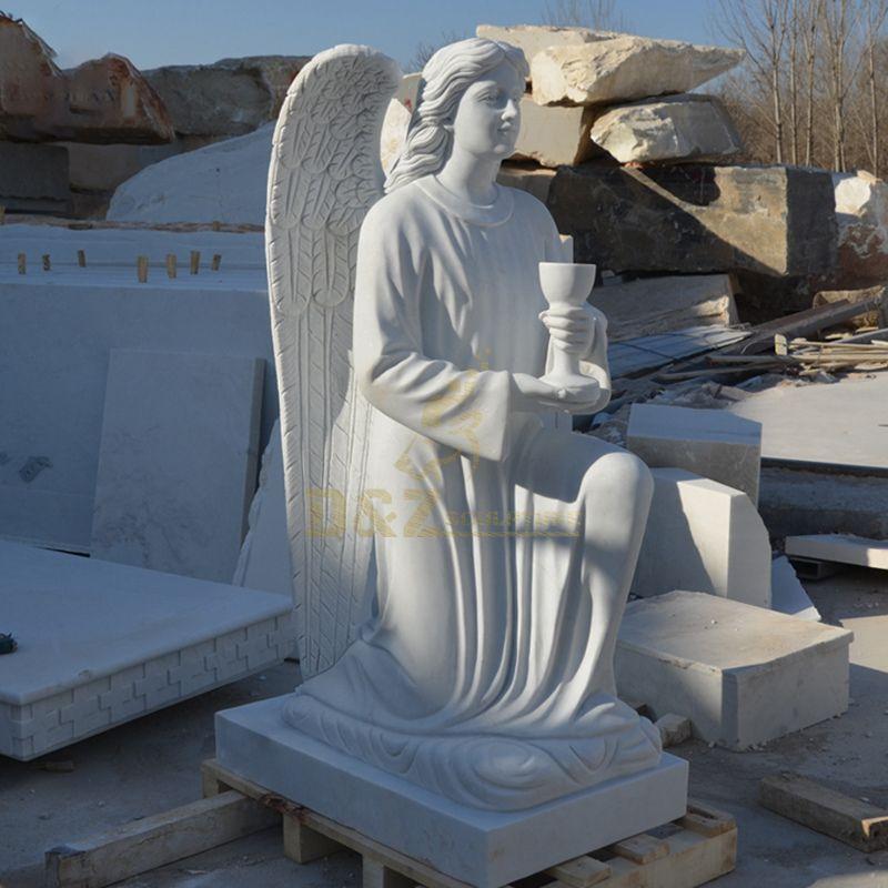 Religious Church White Marble Adoration Kneeling Angel Praying Statue