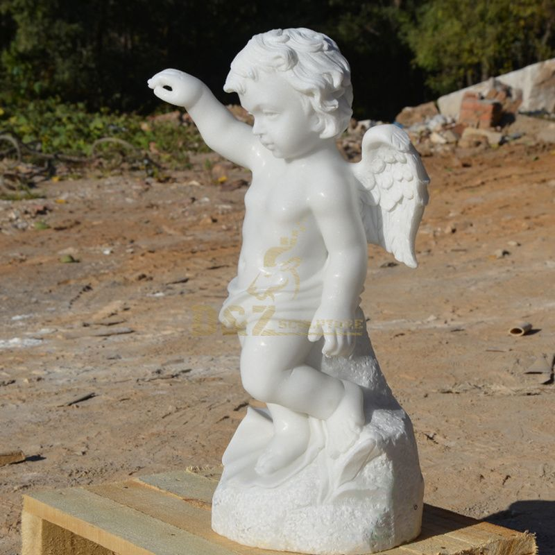 Popular Designs Carved White Marble Little Boy Angel Statue