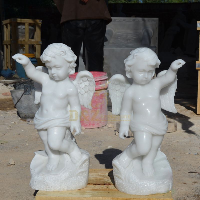 White Marble Garden Standing Angel Statue For Sale