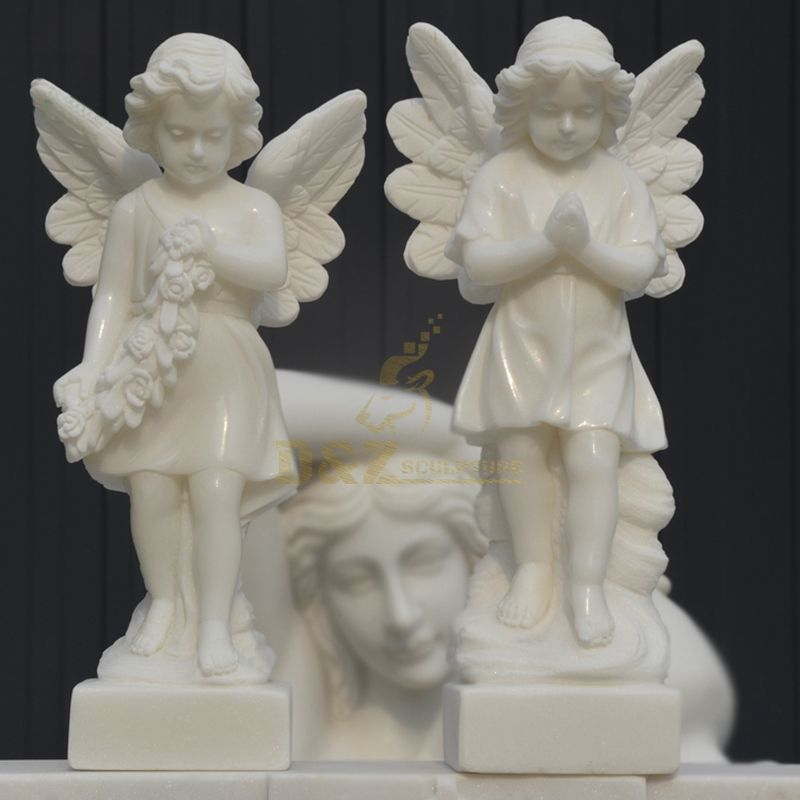 Small White Marble Children Stone Angel Sculpture