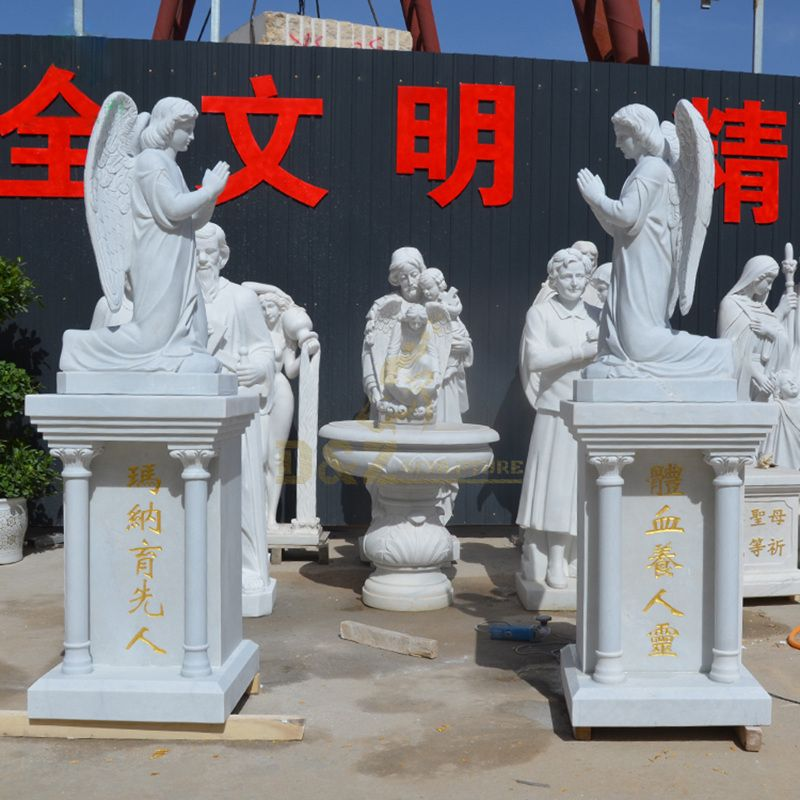 High Quality Outdoor Decoration White Stone Angel with Wings Statue