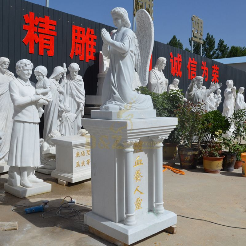 PrefaPrefabricated Praying White Marble Angel Statue With Big Wings
