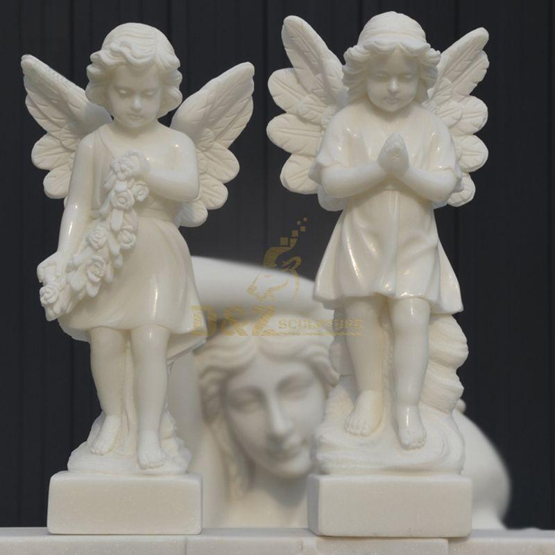 Wholesale White Marble Stone Little Angel Statue Interior Sculpture