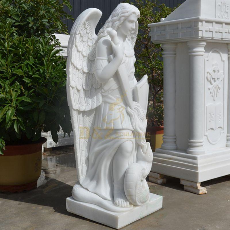 Life Size White Marble Saint Michael Statue Large Stone Angel Sculpture