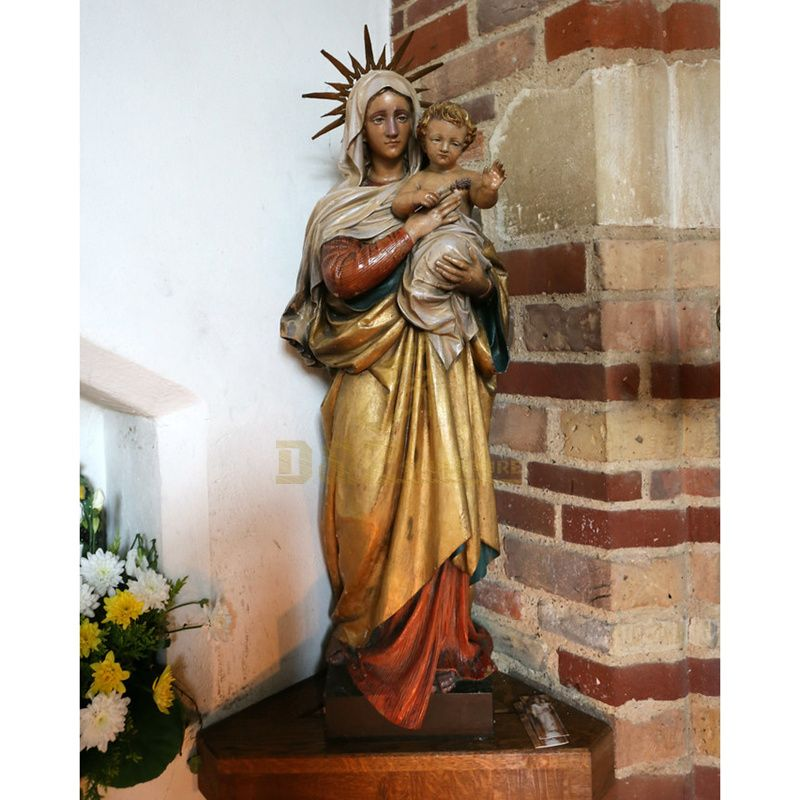 Good Quality And Price Of Fiberglass Virgin Mary With Infant Jesus Statue