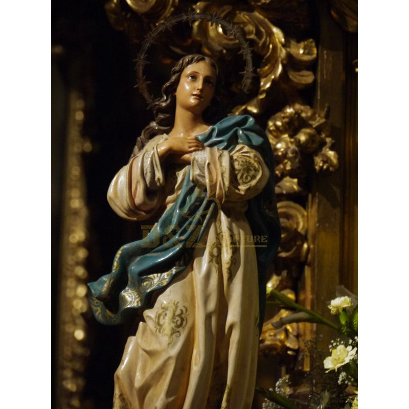 Catholic Figurines Model Crying Fiberglass Saint Virgin Mary Carrying Jesus Body Sculpture
