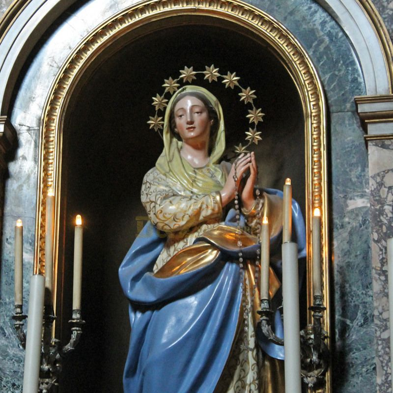 Antique Poly Resin Catholic Religious Home Decor Mary Statues