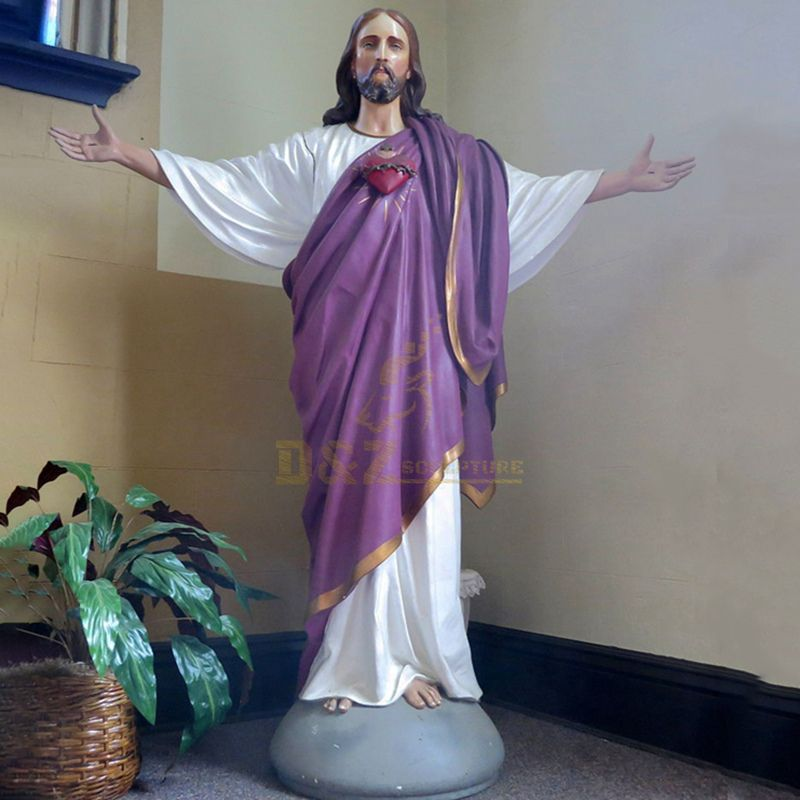 Hand Painted Custom Resin Religon Jesus Statue For Outdoor Decoration