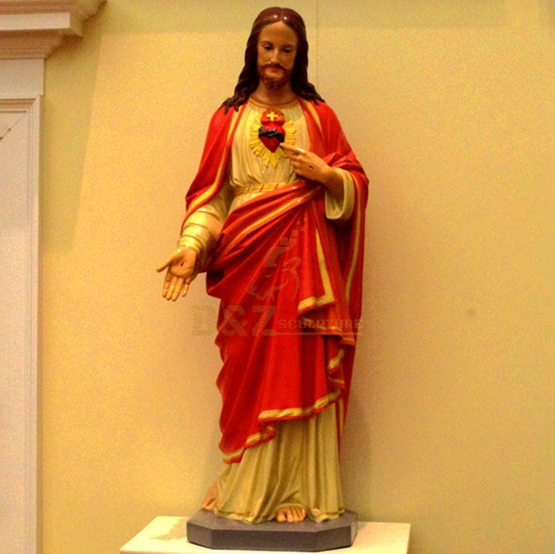 Sacred Heart Of Jesus Religious Fiberglass Finish Statue Figurine
