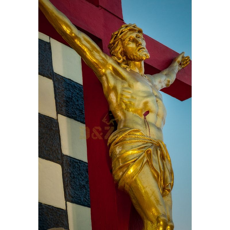 New Products Resin Crafts Jesus Cross Statue Religious Suffering Jesus On The Cross Figurines