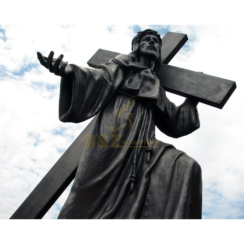 Outdoor Decor Christianity And The Cross Bronze Jesus Statue