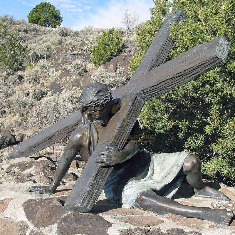 Jesus Caring The Cross Bronze Sculpture Religious Statue