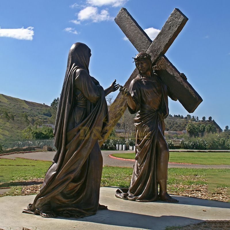 High Stations Of The Cross At Lourdes Large Bronze Jesus Statue