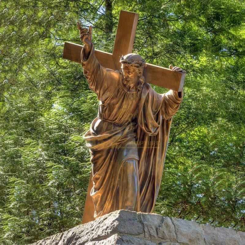 Outdoor Garden Decoration Life Size Bronze Jesus Christ Statue Cross