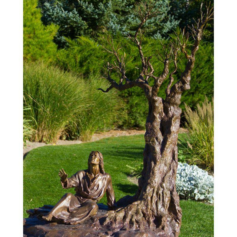 Customized Outdoor Garden Decoration Life Size Jesus Statue Sitting Under Tree