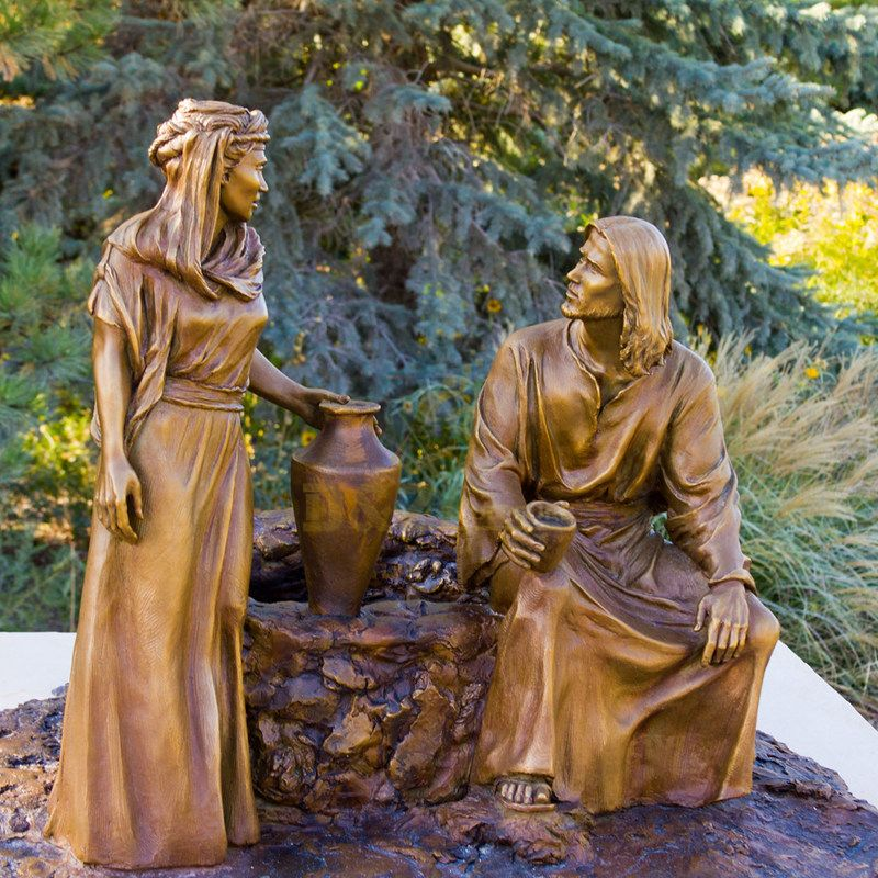 Outdoor Garden Decoration Antique Religion Casting Life size Bronze Jesus Christ Statue For I Give You Living Water