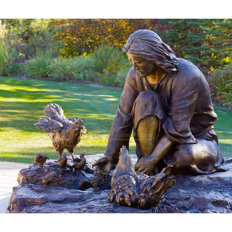 Outdoor Garden Life Size Bronze Sculpture Of Jesus Feeding Chickens
