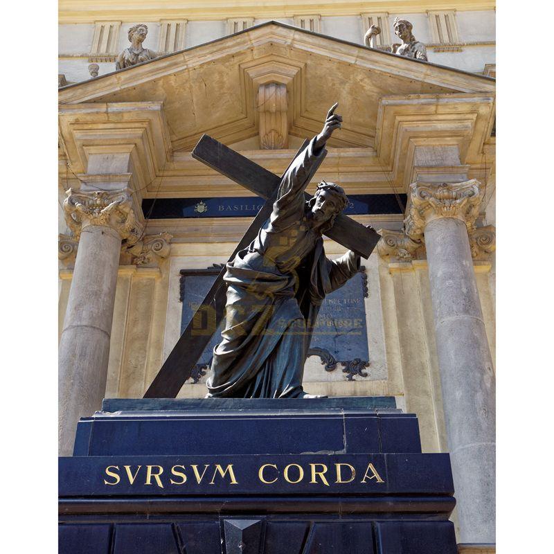 Out Door Large Size Cast Bronze Jesus Cross Sculpture