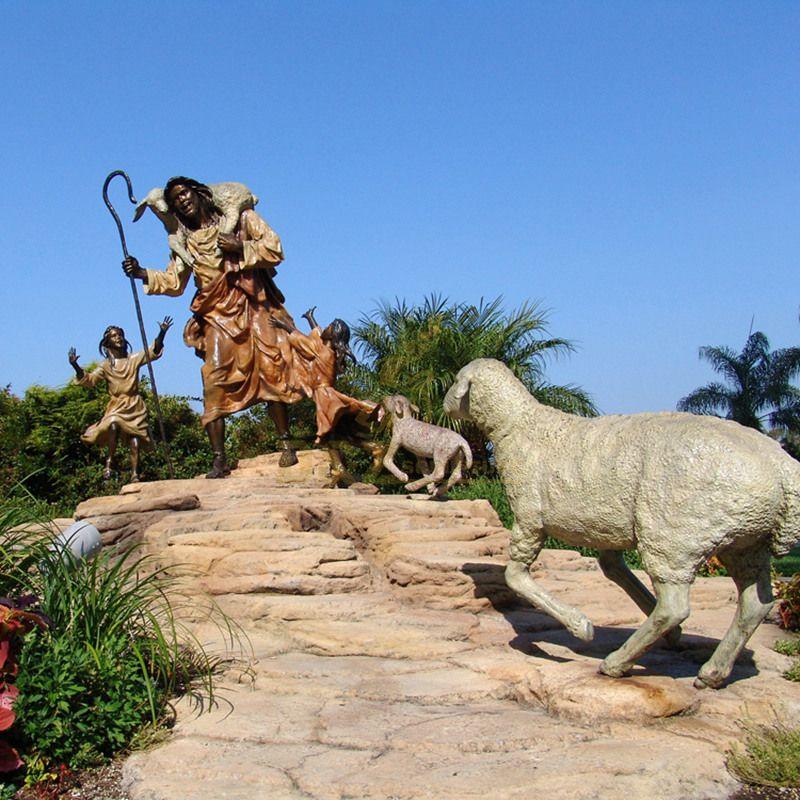 Outdoor Decor Life Size Bronze Jesus Holding Sheep Statues