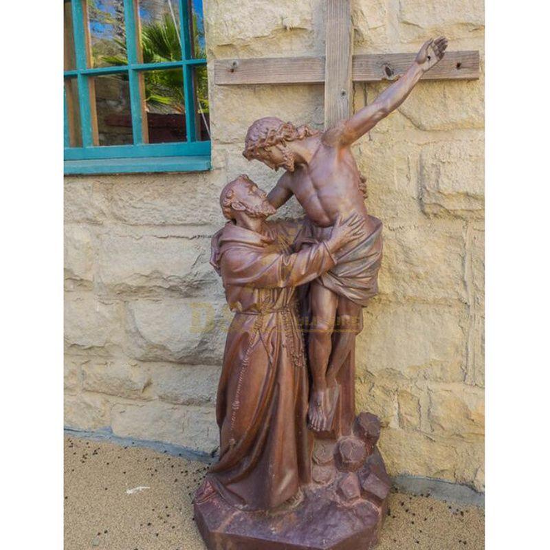 Life Size Religious Metal Jesus Cross Statue Bronze Crucifixion Sculpture