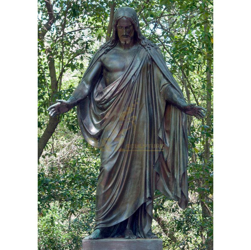 Outdoor Bronze Life Size Jesus Suffering with Big Cross Statue