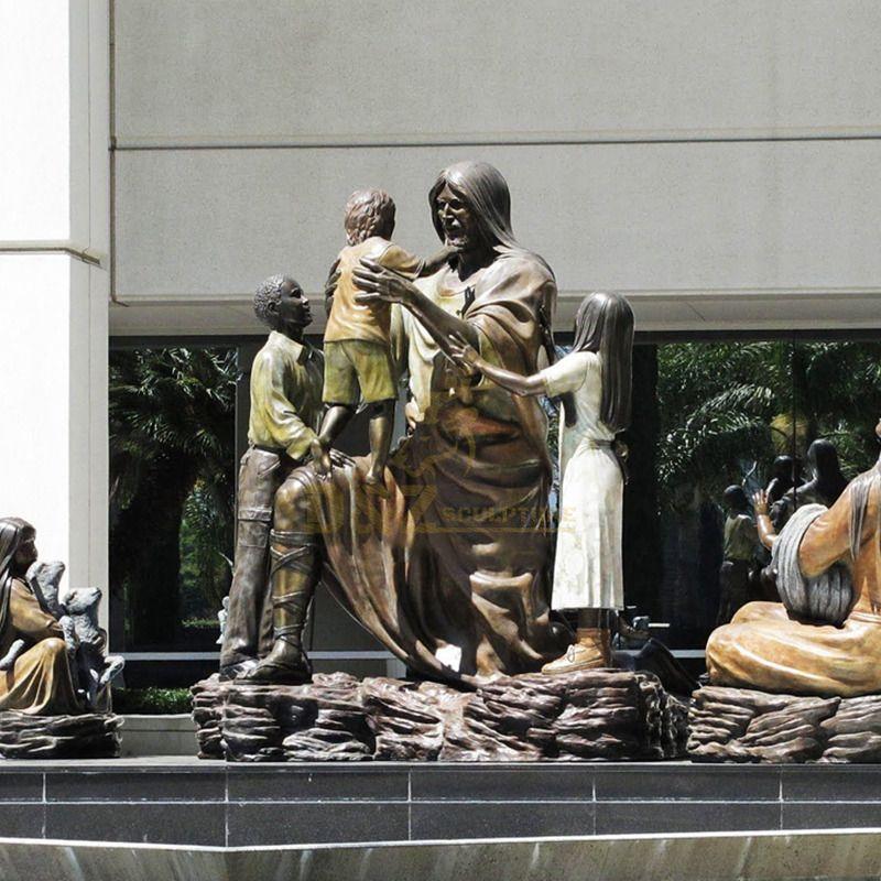 Customized Garden Bronze Decorative Life Size Jesus Christ Statue With Children